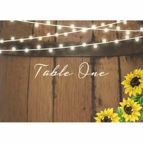 Rustic Barrel & Sunflowers Table Name