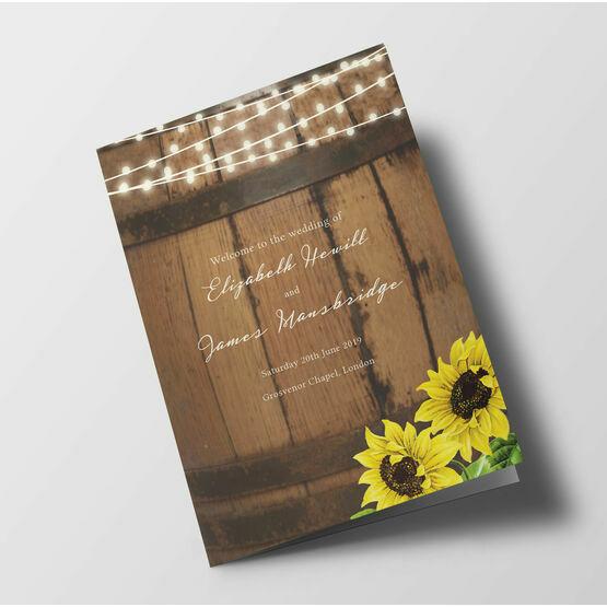 Rustic Barrel & Sunflowers Wedding Order of Service Booklet