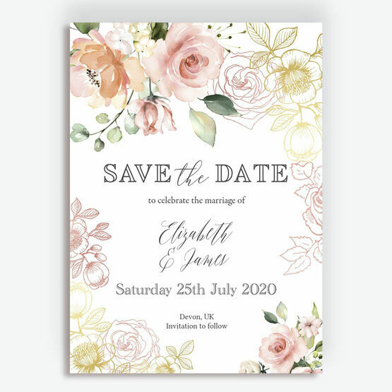 White, Blush & Rose Gold Floral Wedding Save the Date