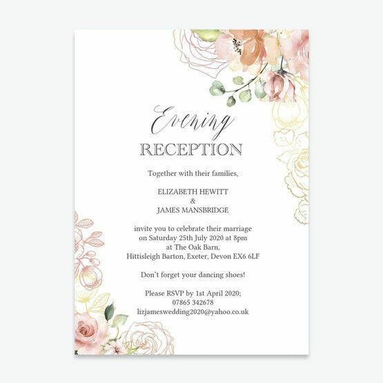 White, Blush & Rose Gold Floral Evening Reception Invitation
