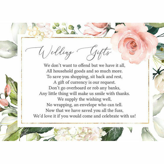 White, Blush & Rose Gold Floral Gift Wish Card