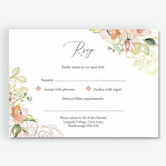 White, Blush & Rose Gold Floral RSVP