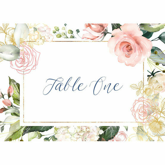 White, Blush & Rose Gold Floral Table Name
