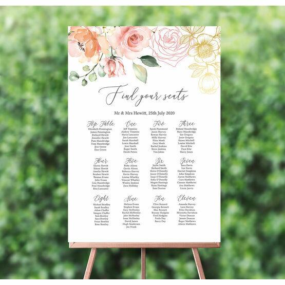 White, Blush & Rose Gold Floral Wedding Seating Plan