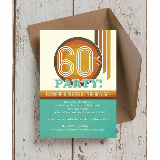 Retro 1960s 50th Birthday Party Invitation
