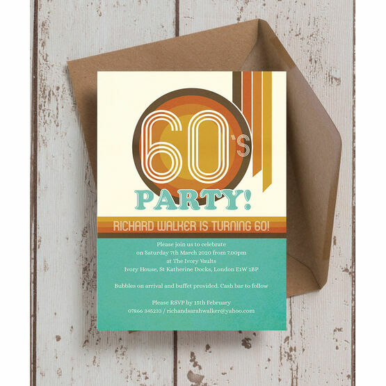 Retro 1960s 60th Birthday Party Invitation