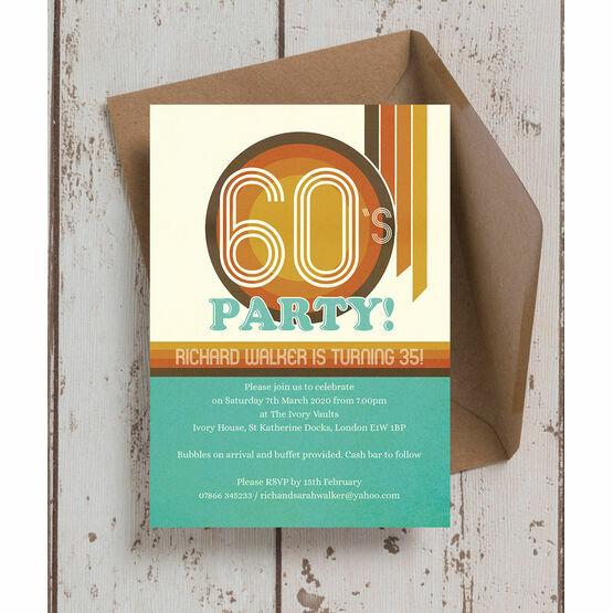 Retro 1960s Birthday Party Invitation