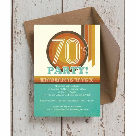 Retro 1970s 30th Birthday Party Invitation
