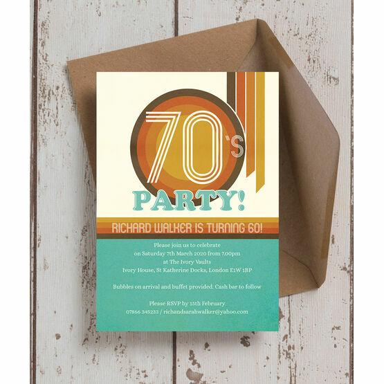 Retro 1970s 60th Birthday Party Invitation