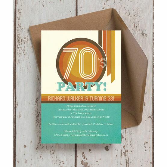 Retro 1970s Birthday Party Invitation