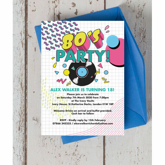 Retro 1980s 18th Birthday Party Invitation