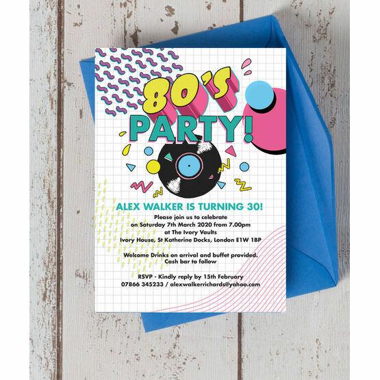 Retro 1980s 30th Birthday Party Invitation