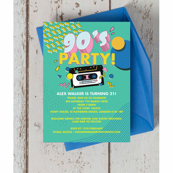 Retro 1990s 21st Birthday Party Invitation