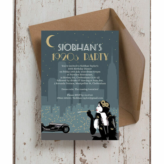 Great Gatsby 1920s Art Deco 80th Birthday Party Invitation