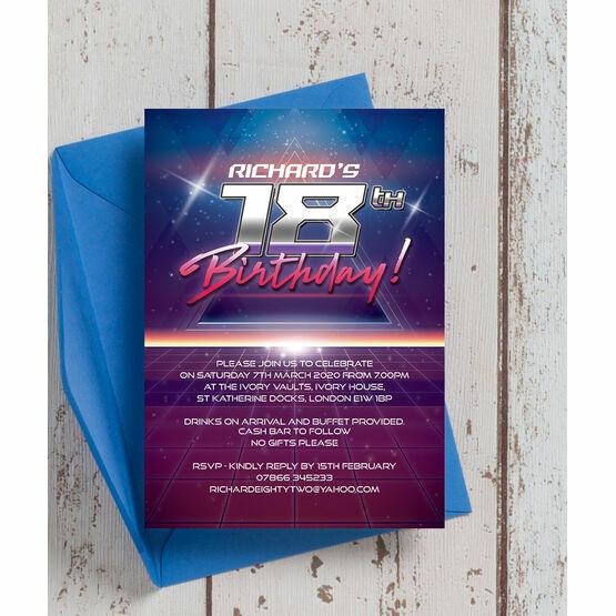 Retro SciFi 18th Birthday Party Invitation