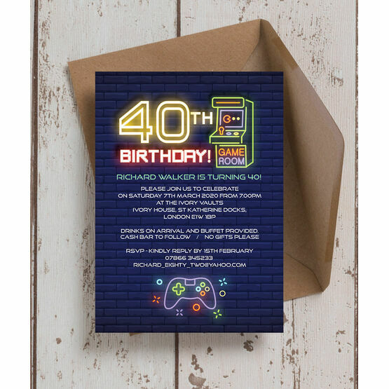 Retro Gaming 40th Birthday Party Invitation
