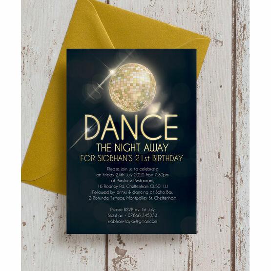 Disco Ball 21st Birthday Party Invitation
