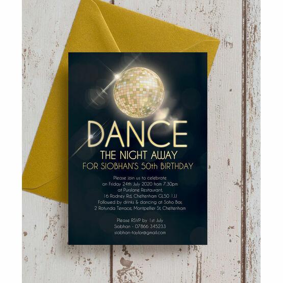 Disco Ball 50th Birthday Party Invitation
