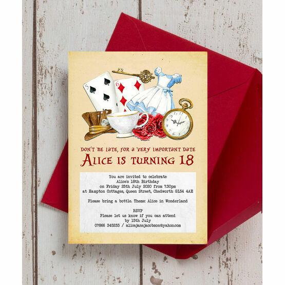 Alice in Wonderland 18th Birthday Party Invitation