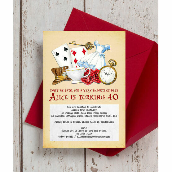 Alice in Wonderland 40th Birthday Party Invitation