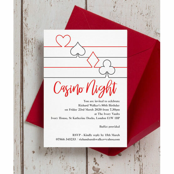 Las Vegas Casino Themed 80th Birthday Party Invitation