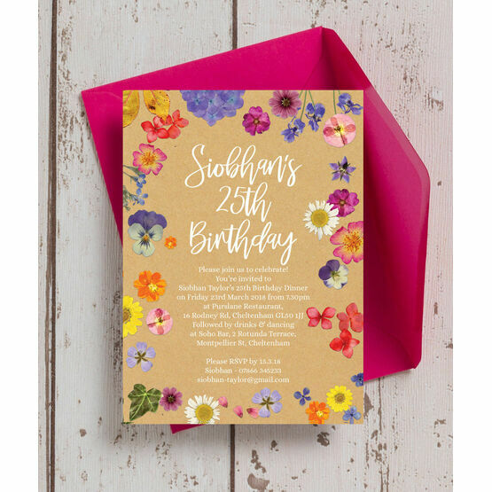 Pressed Flowers Birthday Party Invitation From 090 Each