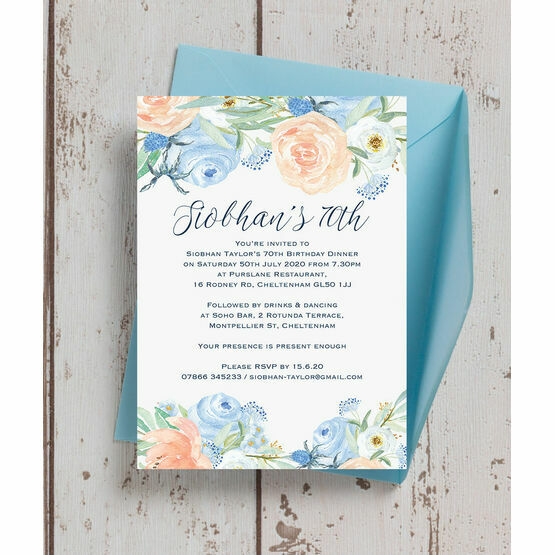 Peach Blue Floral 70th Birthday Party Invitation