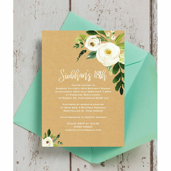 Cream Flowers 18th Birthday Party Invitation From £0.90 Each