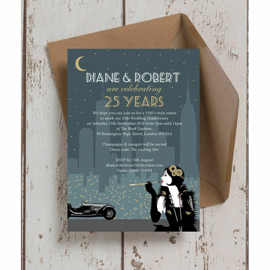 The Roaring Twenties' 25th / Silver Wedding Anniversary Invitation