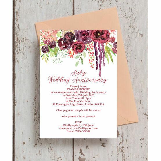 Burgundy Floral 40th / Ruby Wedding Anniversary Invitation