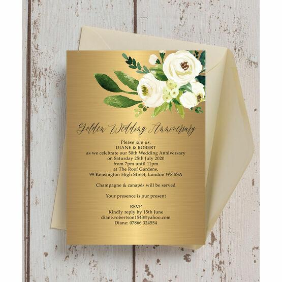 Gold & Cream Flowers 50th / Golden Wedding Anniversary Invitation
