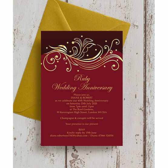 Red and Gold Flourish 40th / Ruby Wedding Anniversary Invitation