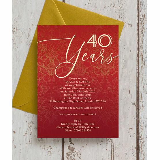 Ruby Red 40th / Ruby Wedding Anniversary Invitation