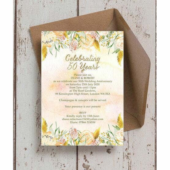 Gold Floral 50th / Gold Wedding Anniversary Invitation