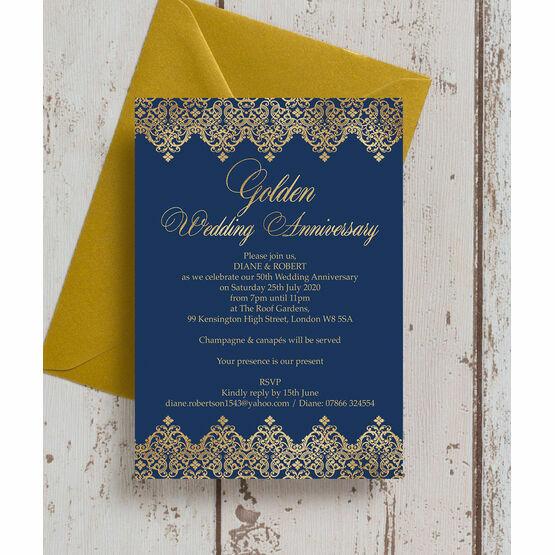 Classic Navy & Gold 50th / Gold Wedding Anniversary Invitation