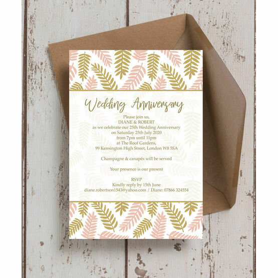 Blush Gold Leaves 25th / Silver Wedding Anniversary Invitation from £0.90 each