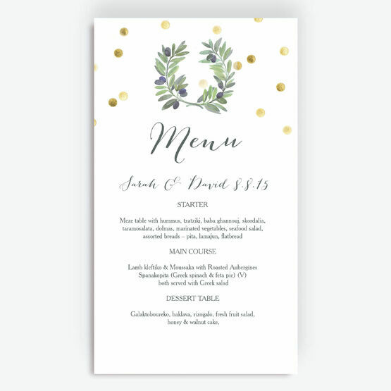 Olive Wreath Menu