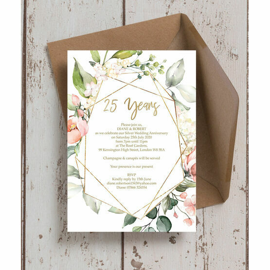Floral & Gold Frame 25th / Silver Wedding Anniversary Invitation