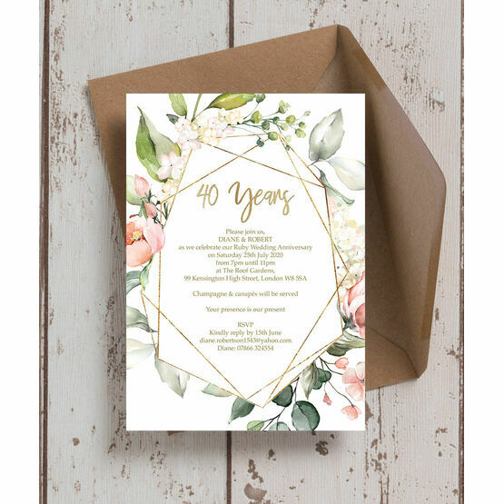 Floral & Gold Frame 40th / Ruby Wedding Anniversary Invitation