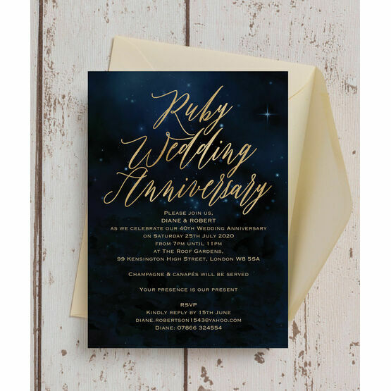Starry Night 40th / Ruby Wedding Anniversary Invitation