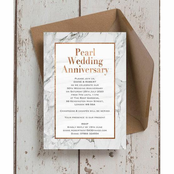 Marble Copper 30th / Pearl Wedding Anniversary Invitation