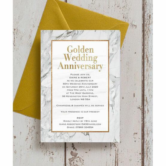 Marble Copper 50th / Gold Wedding Anniversary Invitation