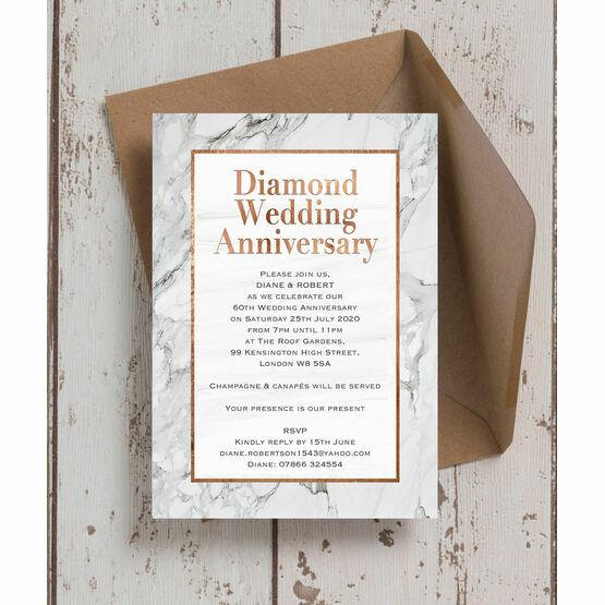 Marble Copper 60th / Diamond Wedding Anniversary Invitation
