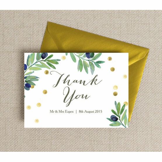 Olive Wreath Thank You Card
