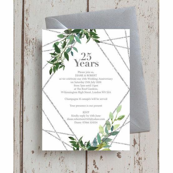 Geometric Greenery 25th / Silver Wedding Anniversary Invitation