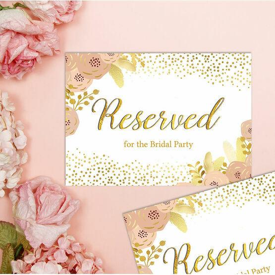 Blush & Gold Floral Reserved Wedding Sign