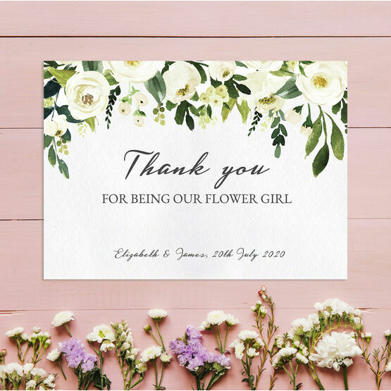 Cream Flowers 'Thank You for Being Our Flower Girl' Card
