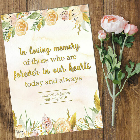 Gold Floral 'In Loving Memory' Wedding Rememberance Print