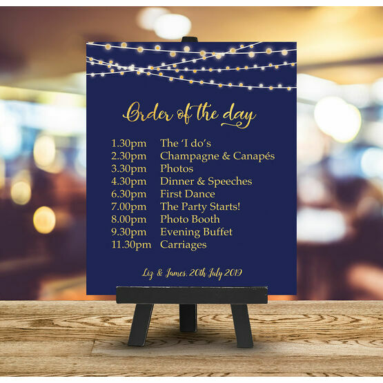 Navy & Gold Fairy Lights Order of the Day Sign