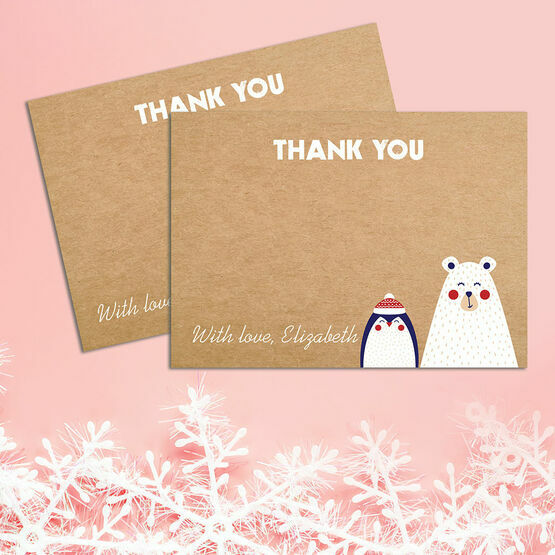 Personalised Bear & Penguin Personalised Christmas Thank You Card